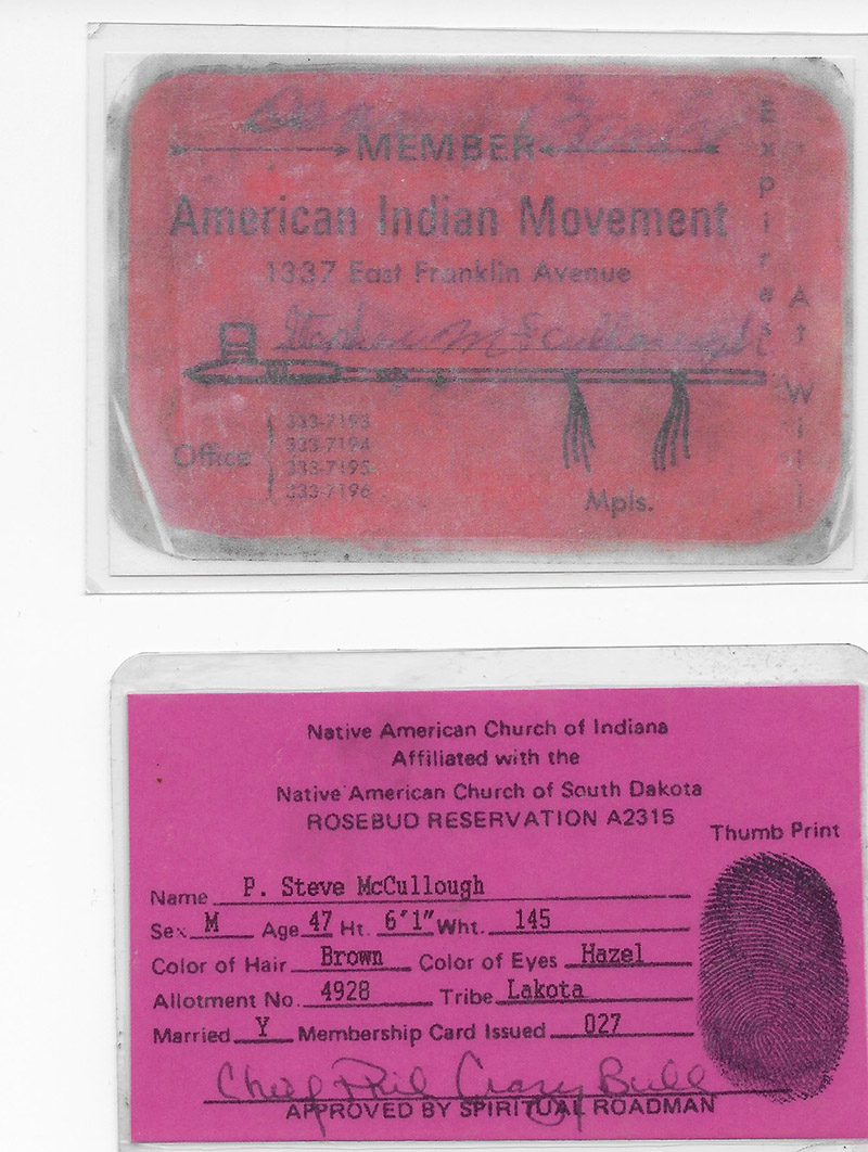 Native american church membership card